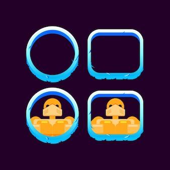 Set di confine invernale di ghiaccio dell'interfaccia utente di gioco con anteprima avatar personaggio