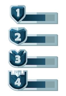 Set di barra di livello dell'interfaccia utente di gioco con bordo per elementi di asset di giochi 2d