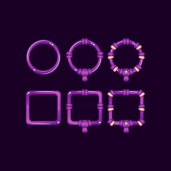 Set di telaio di gelatina viola dell'interfaccia utente di gioco con grado