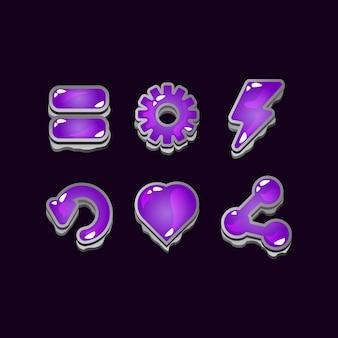 Set di segni di icona di gelatina di roccia dell'interfaccia utente di gioco per elementi di asset gui