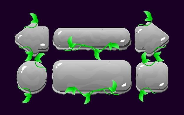 Set di kit di pulsanti per foglie di roccia dell'interfaccia utente di gioco