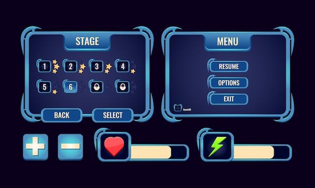 Set di interfaccia a comparsa della scheda di gioco ui rpg e barra per gli elementi delle risorse della gui