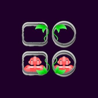 Set di bordo di foglie di pietra dell'interfaccia utente di gioco con anteprima avatar personaggio