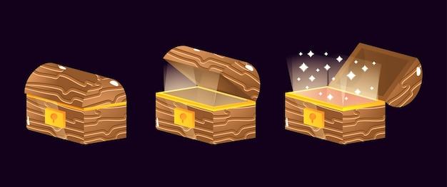 Set di icone di scatola di legno della cassa di legno dell'interfaccia utente del gioco per elementi di asset gui