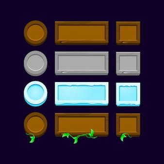 Set di pulsanti di gioco ui in legno, roccia, ghiaccio per elementi di asset gui