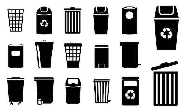 Set di icona del cestino della spazzatura o cestino dei rifiuti o concetto di ecologia del riciclaggio