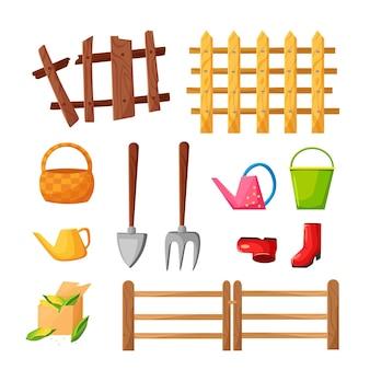 Un set di attrezzi da giardino: una forchetta, una pala, un secchio, un annaffiatoio, una staccionata, stivali, un cesto. illustrazione del fumetto di vettore.