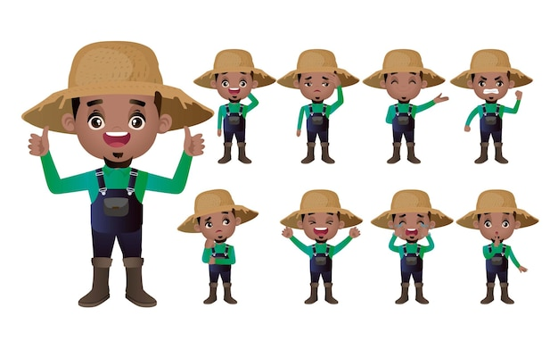 Set di giardiniere con diverse pose