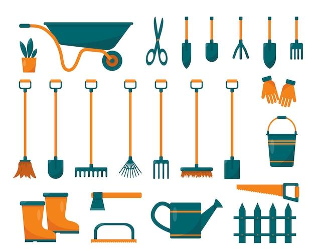 Set di attrezzi da giardinaggio e attrezzature. illustrazione di articoli per il giardinaggio e l'agricoltura.