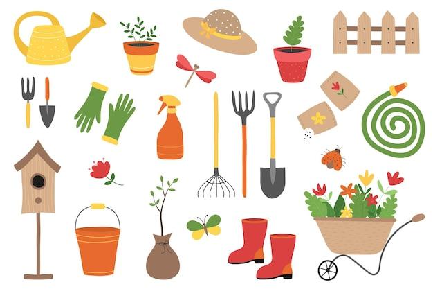 Un set di attrezzi e attrezzature da giardinaggio