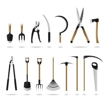 Set di attrezzi da giardinaggio. una serie di attrezzi e attrezzi da giardinaggio.