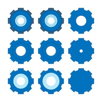 Insieme dell'icona dell'ingranaggio. design piatto semplice. pittogramma blu. illustrazione di concetto di vettore piatto isolato su sfondo bianco