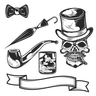 Set di elementi per gentiluomini per creare badge, loghi, etichette, poster, ecc