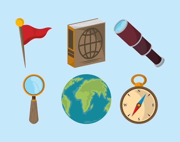 Set di viaggi geografici
