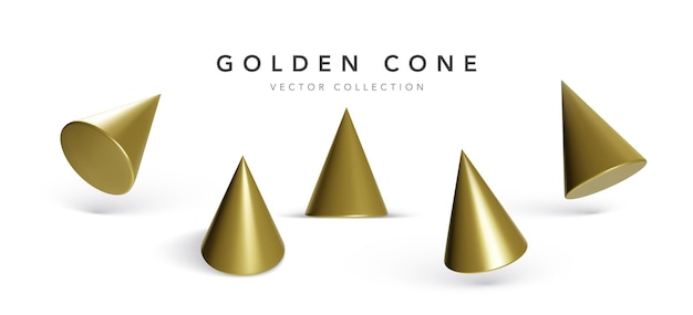 Set di coni geometrici isolati su bianco