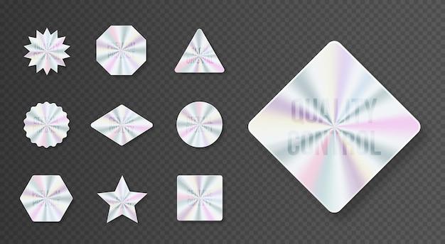 Set di etichette ologramma geometriche illustrazione piatta vettoriale elemento vettoriale per garanzia del prodotto