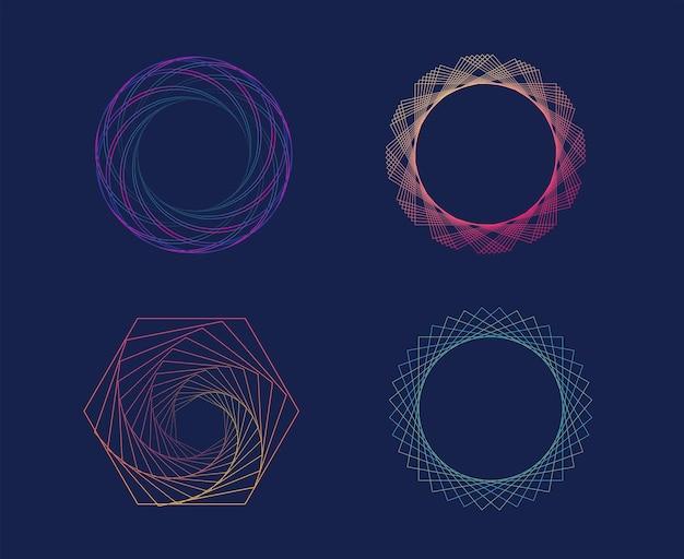 Set di linee geometriche gradiente colorato futuristico sfondo frattale ondulato