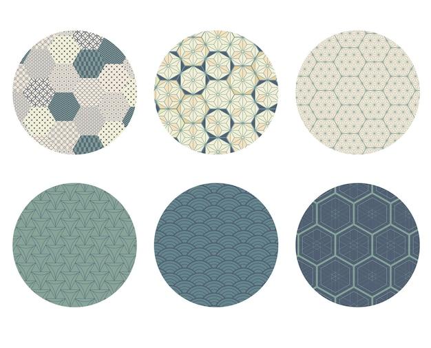 Insieme di vettore di elementi grafici moderni geometrici. icone asiatiche con motivo giapponese. bandiere astratte con forme esagonali.
