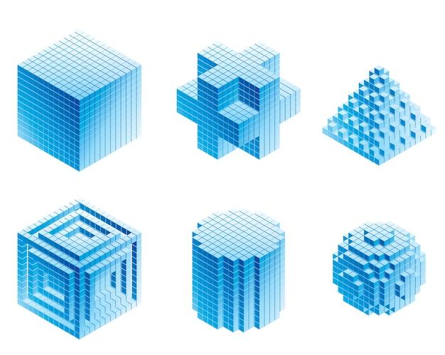 Insieme di oggetti geometrici su sfondi bianchi