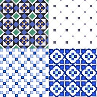 Insieme di motivi geometrici per piastrelle. illustrazione vettoriale.
