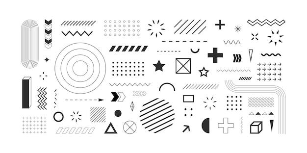 Insieme di elementi e simboli di disegno astratto di forme geometriche