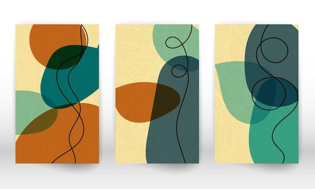 Insieme di forme geometriche. elementi di design effetto acquerello astratto disegnato a mano. stampa d'arte moderna. design contemporaneo con forme scarabocchiate.
