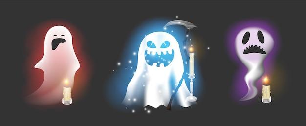 Set di emoticon di personaggi fantasma isolati su priorità bassa bianca. simpatici personaggi di fantasmi.illustrazione vettoriale eps 10