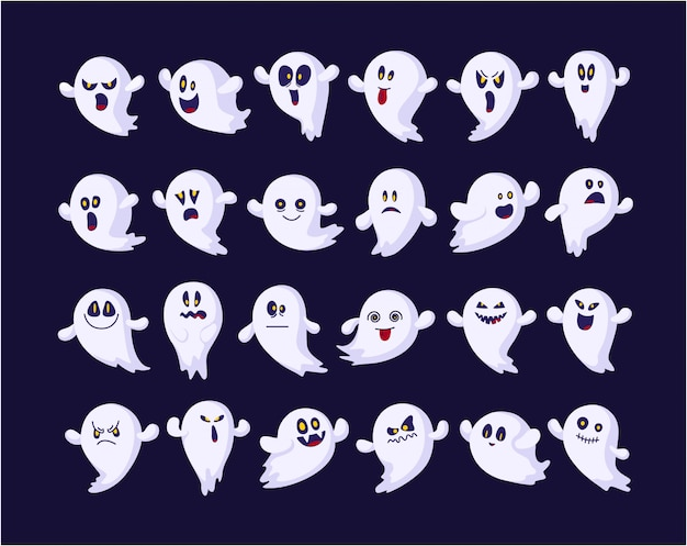 Set di emoji fantasmi per halloween, isolato, icone, personaggi inquietanti divertenti