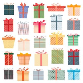 Set di confezione regalo, regali colorati