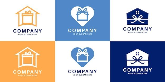 Set di design del logo con combinazione di scatole regalo
