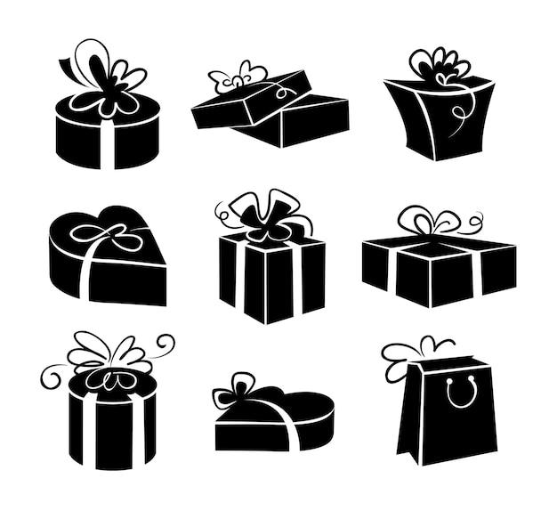 Set di icone di scatole regalo, illustrazioni in bianco e nero