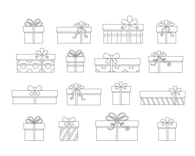 Imposta scatole regalo. illustrazione vettoriale di contorno