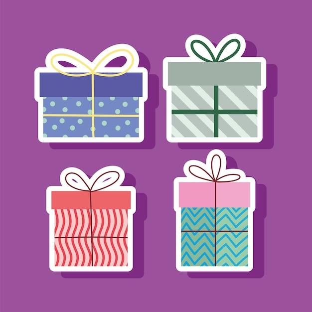Set di scatole regalo sorprese celebrazione festa illustrazione vettoriale