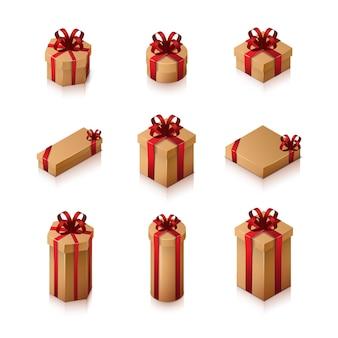 Set di scatole regalo con fiocchi e nastri. illustrazione isometrica su sfondo bianco.