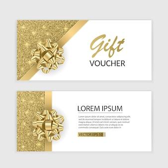 Set di modello di carta del buono regalo, pubblicità o vendita. modello con texture glitter e fiocco realistico