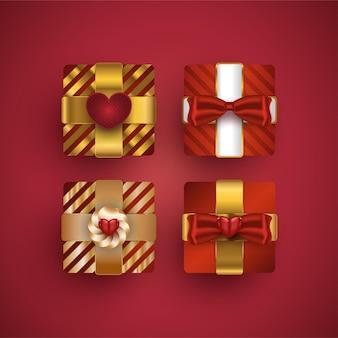 Set di scatole regalo. confezione regalo di lusso realistica