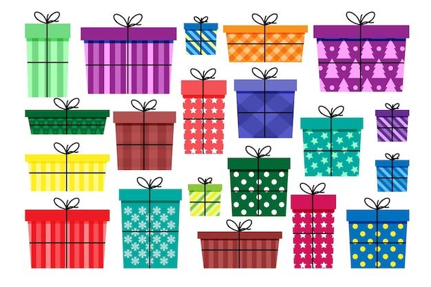 Set di regali e regali per natale e capodanno, vacanze o feste di compleanno, varie scatole colorate con nastri, illustrazione vettoriale in stile piatto.