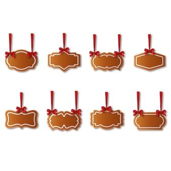 Set di etichette di panpepato con nastri rossi