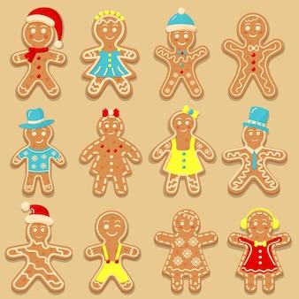 Set di biscotti omini di pan di zenzero per natale. dolci biscotti glassati fatti in casa. illustrazione vettoriale.