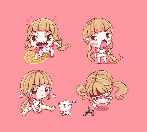 Set di ragazza ed emozione arrabbiata isolata sul rosa
