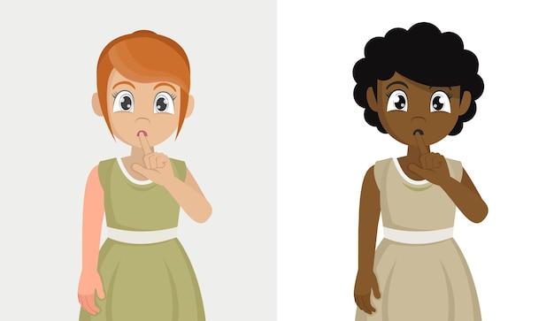 Impostare la ragazza che chiede di tacere con il dito sulle labbra