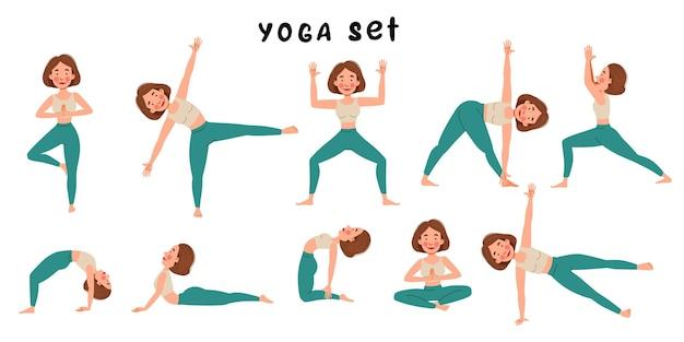 Un insieme di una ragazza che fa yoga yoga. ragazza snella in varie pose su sfondo bianco. illustrazione vettoriale in uno stile piatto