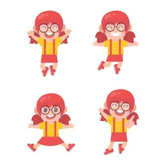 Set di ragazza salta e sorride