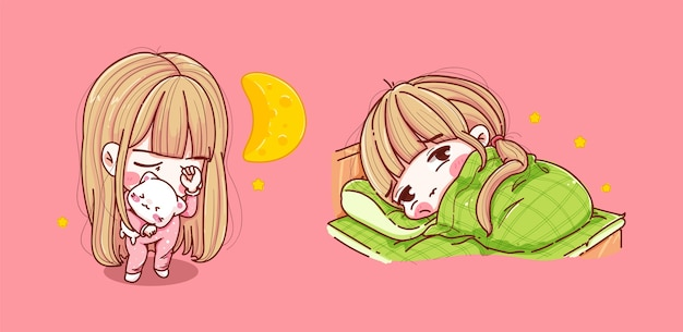 Set di ragazza che dorme in camera da letto isolato sul rosa