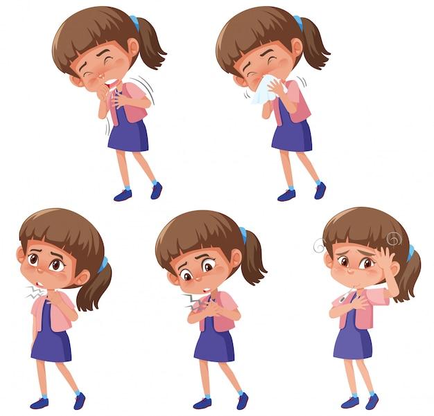 Insieme della ragazza con differenti sintomi su bianco