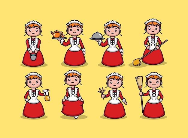 Set di ragazza con costume da cameriera