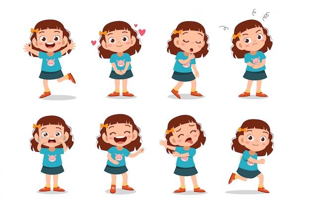 Set di personaggi di ragazze Vettore Premium