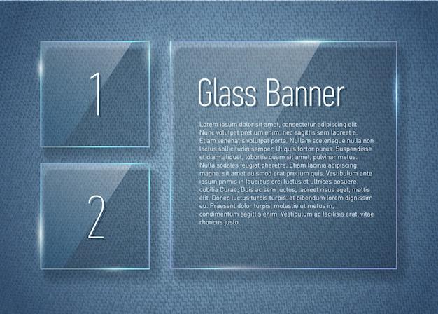 Set di banner di vetro sulla trama di jeans.