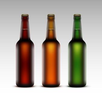 Set di bottiglie di vetro con birra senza etichette