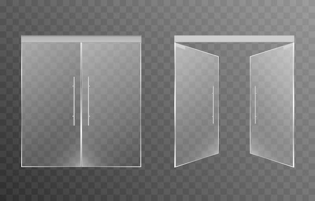 Set di porte in vetro su uno sfondo trasparente isolato porte d'ingresso principali per fare acquisti